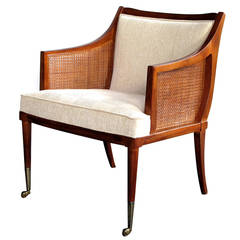 Stylish Danish 1960s Teakwood Upholstered Chair with Caned Sides