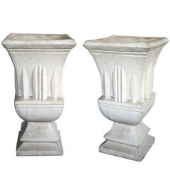 Pair of American Art Deco Style Cast Stone Garden Urns