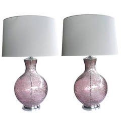Massive Pair of Murano Amethyst-Colored Art Glass Orb-Form Lamps