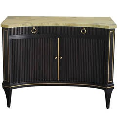 Stylish American Ebonized Lacquered Concave Cabinet, Labeled Baker Furniture