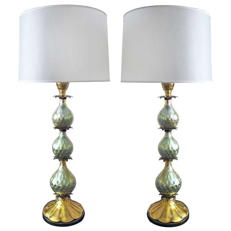 gourd form glass lamps with aqua metallic sparkles for sale at 1stdibs. Black Bedroom Furniture Sets. Home Design Ideas