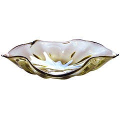 Large Murano Olive Green Art Glass Leaf-Form Bowl w/ Gold Inclusions by Barbini