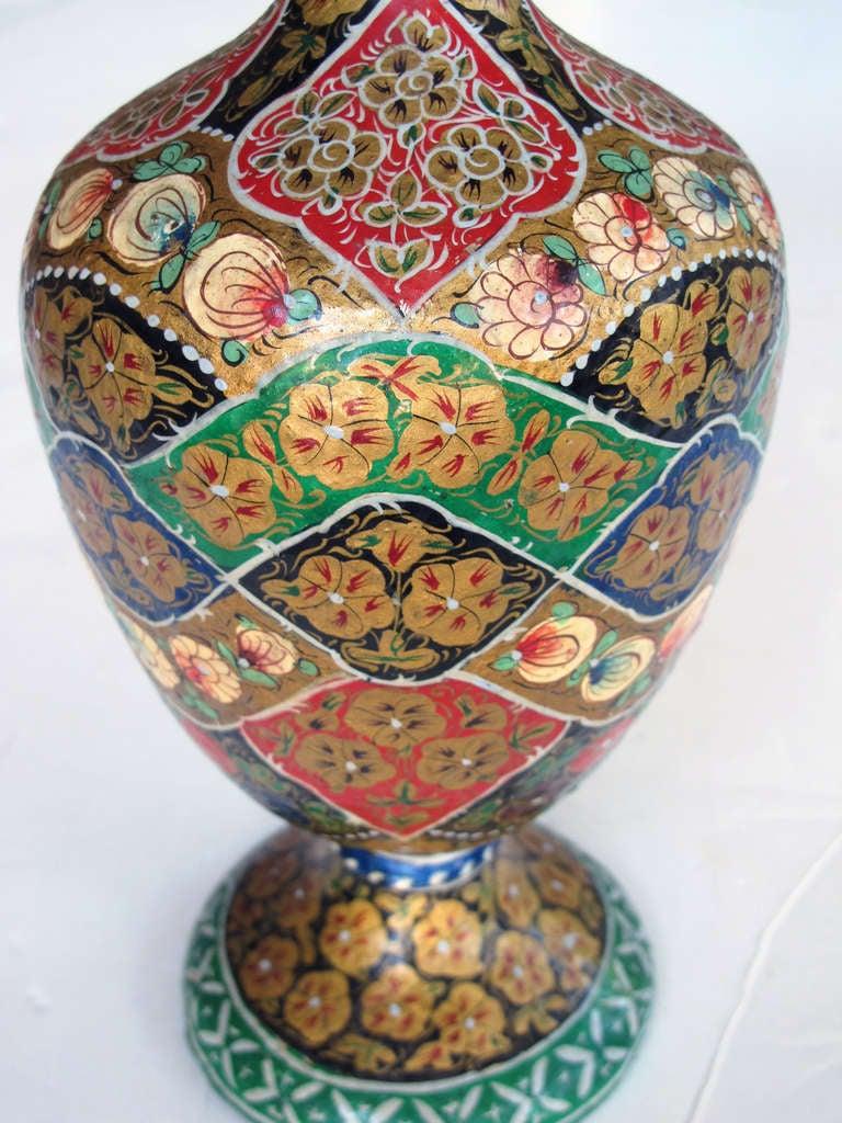 A vibrant and unusual pair of kashmiri papier mache for Papier mache art for sale
