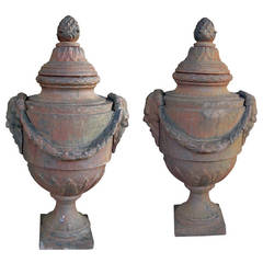 Large-Scaled Pair of English Neoclassical Style Covered Iron Bulb Urns
