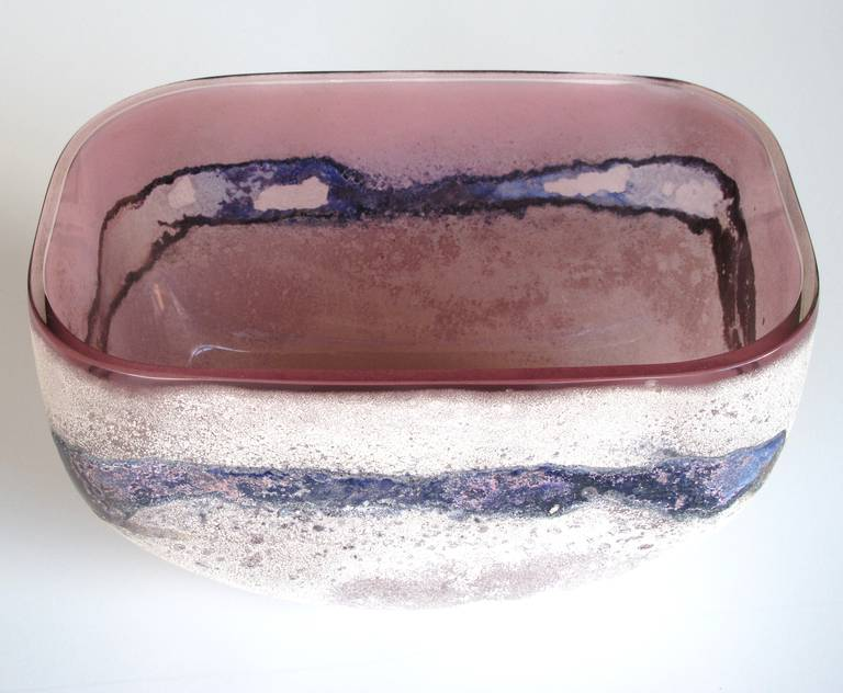 Italian Rare Murano 1960s Alfredo Barbini 'Scavo' Glass Bowl For Sale