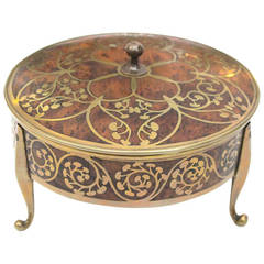 Well-Crafted German Erhard & Sohne Burlwood Covered Box w/Brass Intarsia Design