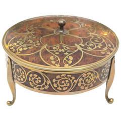Well-Crafted German Erhard & Sohne Burlwood Covered Box w/Brass Intarsia Design