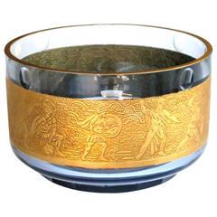 Good Quality Amethyst Art Glass Circular Bowl W/Gilt Frieze by Moser Glass Works