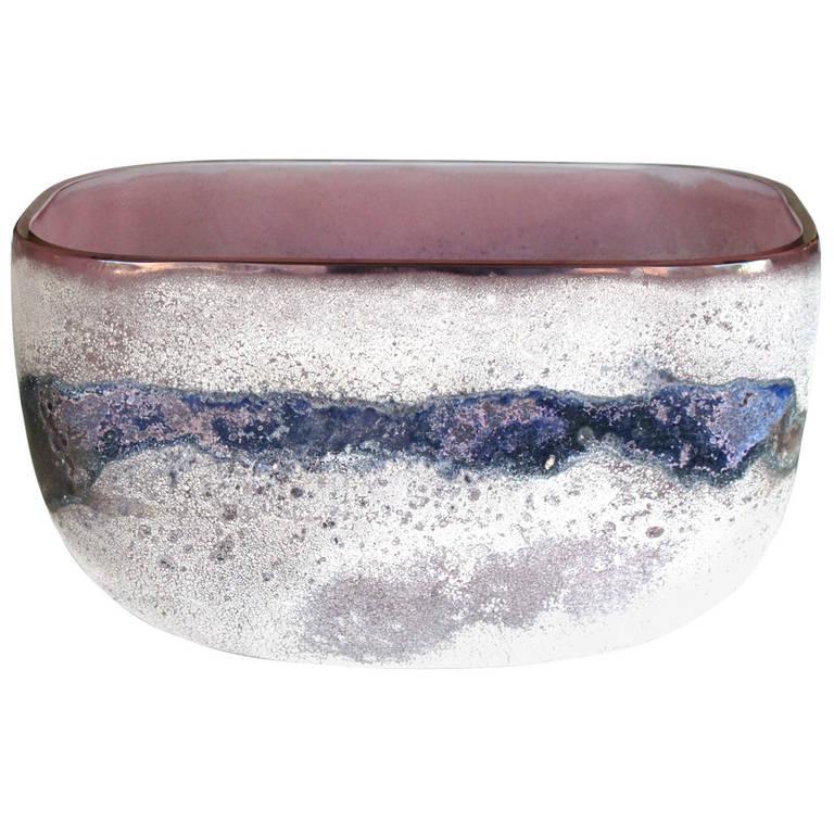 Rare Murano 1960s Alfredo Barbini 'Scavo' Glass Bowl For Sale