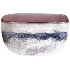 Rare Murano 1960s Alfredo Barbini 'Scavo' Glass Bowl