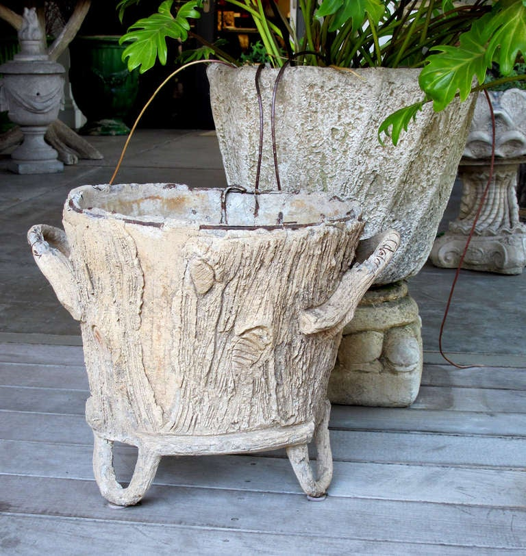 ... Whimsical French Faux Bois Concrete Double-Handled Jardiniere image 3