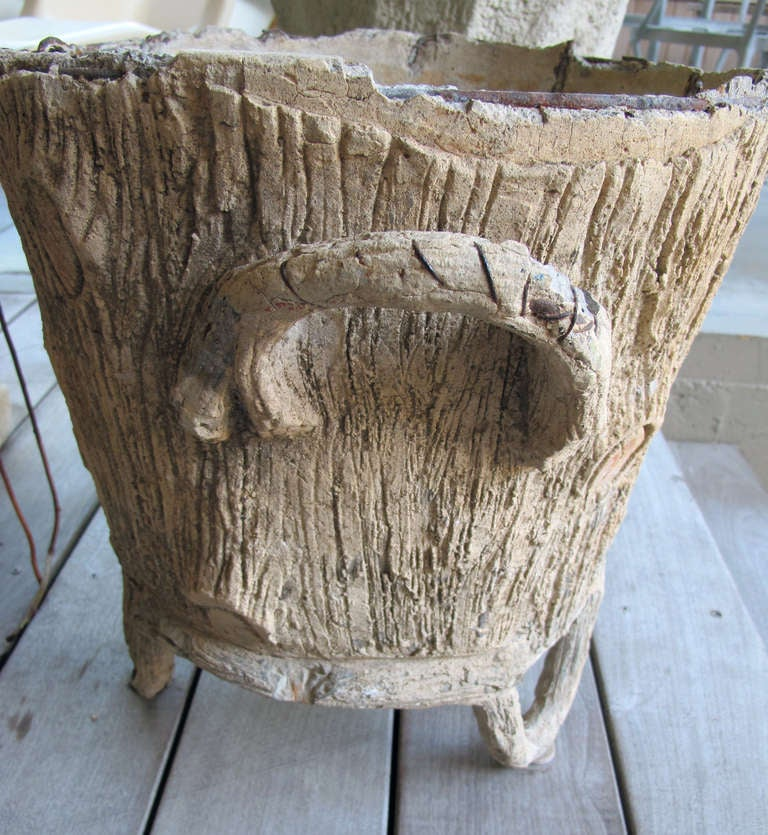 ... Whimsical French Faux Bois Concrete Double-Handled Jardiniere image 5