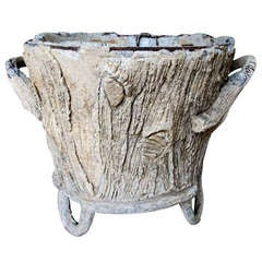 A Whimsical French Faux Bois Concrete Double-Handled Jardiniere