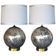 A Bold Pair of American 1960's Orb-form Mercury Glass Lamps