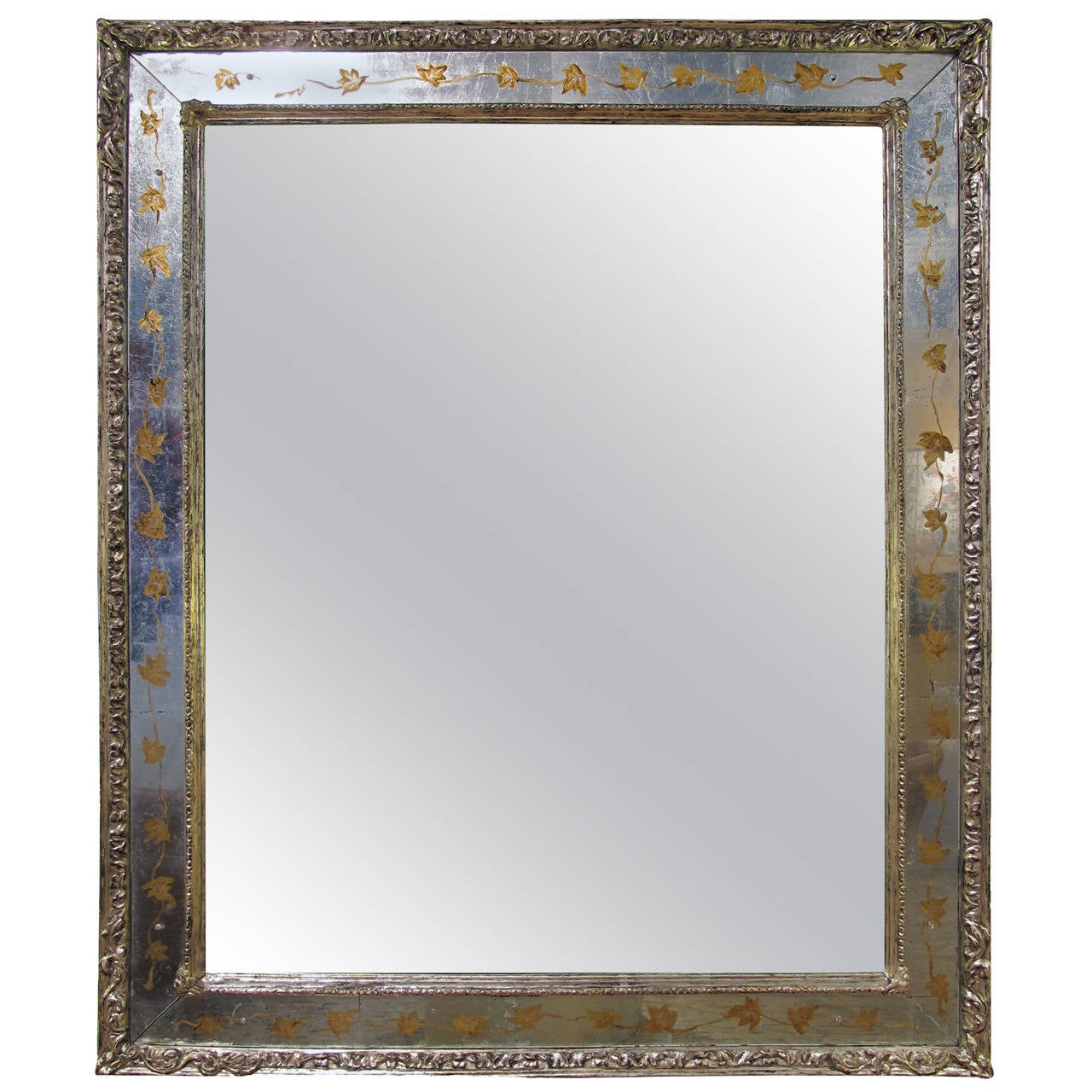 An elegant french 1940 39 s verre eglomise mirror by jansen for Elegant mirrors