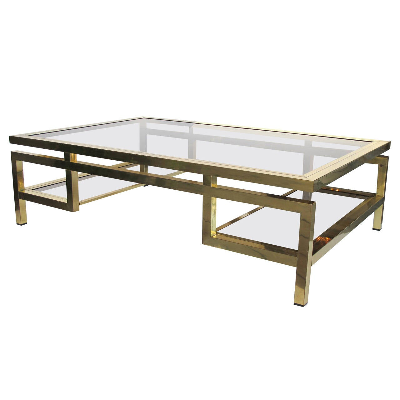 Good quality and large french brass and glass coffee table for French glass coffee table