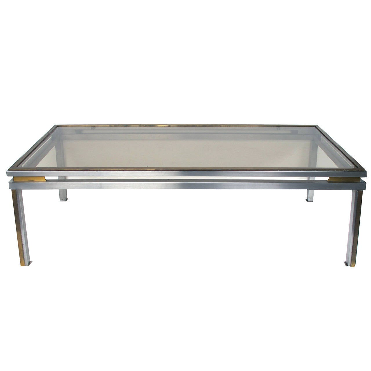 Classic French Brushed-Steel And Brass Coffee Table By Guy