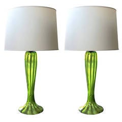 A Tall Pair of Murano 1960's Apple Green Art Glass Trumpet Flower Lamps