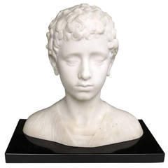 A Finely Modeled Italian Grand Tour Marble Bust of a Boy