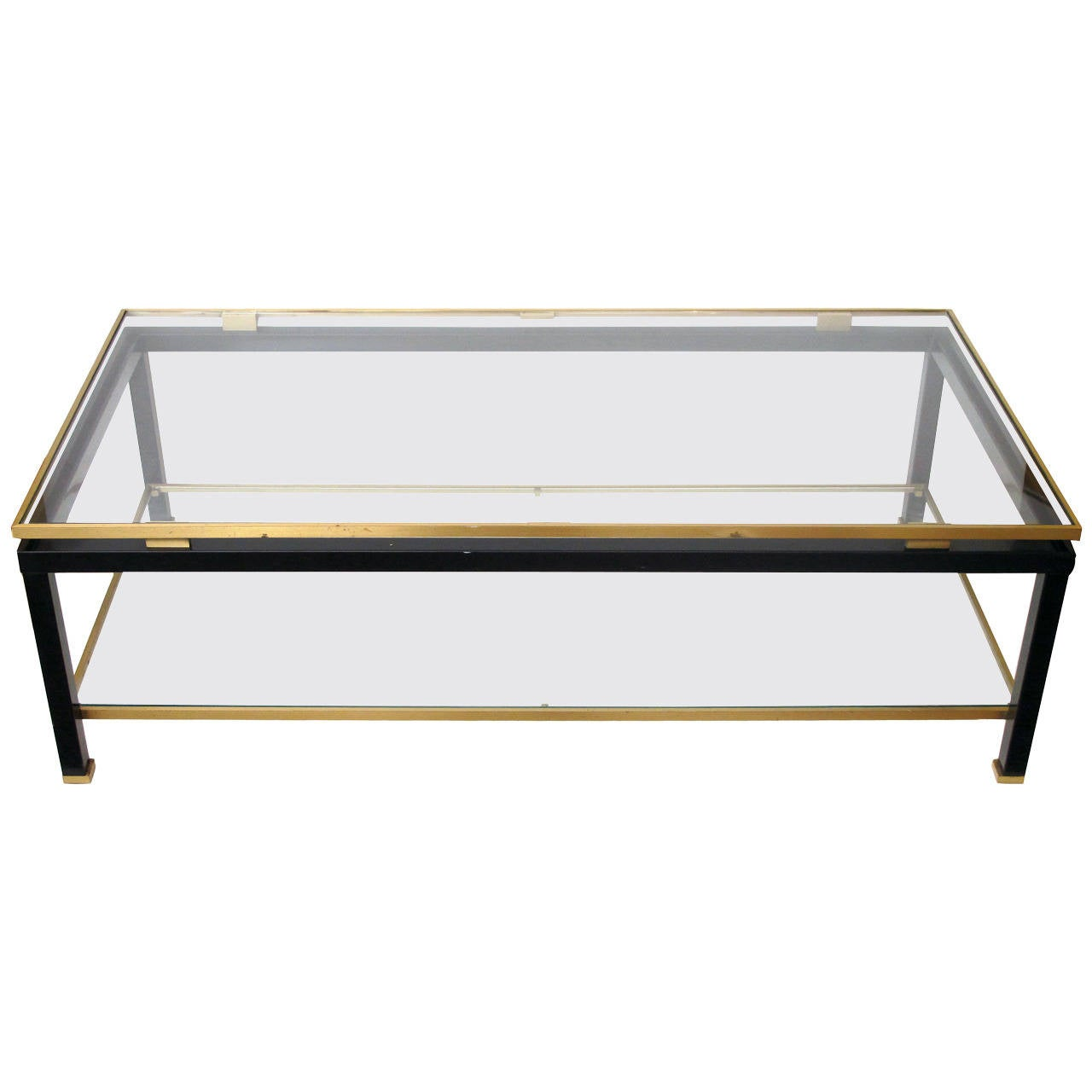 French Black Metal And Brass Coffee Table By Guy Lefevre