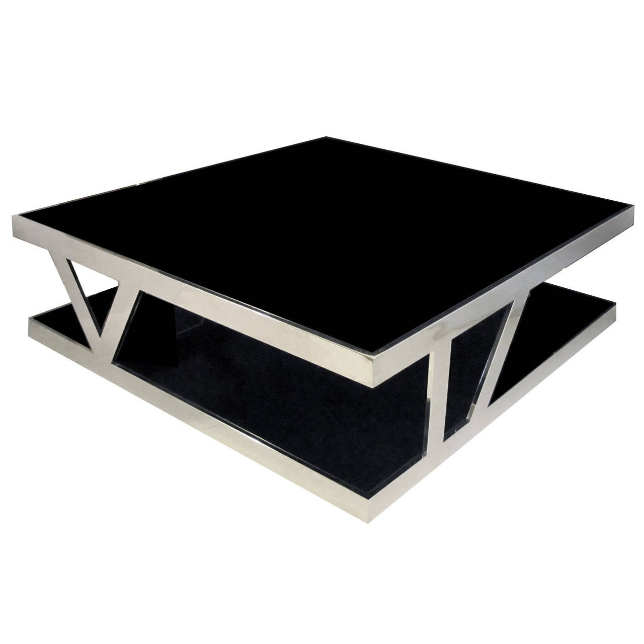 Large french square chrome coffee table with black glass top and shelf at 1stdibs Black and chrome coffee table