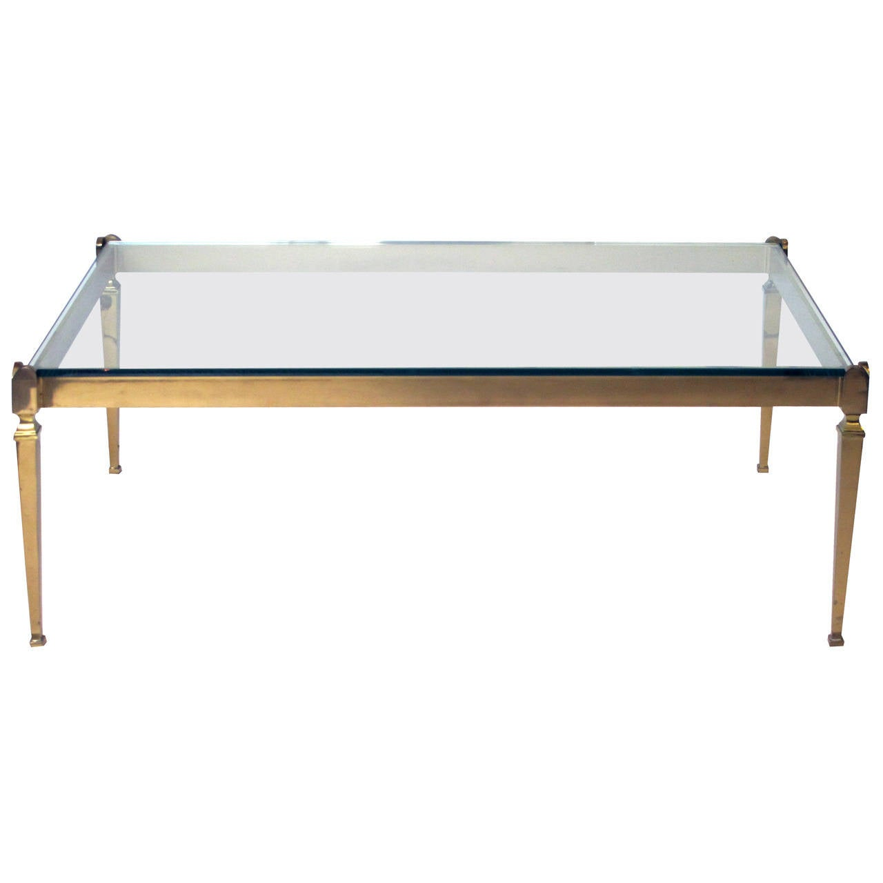 Chic French 1940s Solid Brass Rectangular Coffee Table With Glass Top At 1stdibs