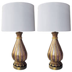 A Good Quality Pair of Murano Aubergine and Gold Aventurine Ribbed Glass Lamps