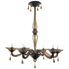Elegant Murano1930's  Chandelier of Charcoal-Brown Glass by Napoleone Martinuzzi