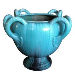 A Massive French TurquoisePottery Jardiniere by Clement Massier Golfe-Juan