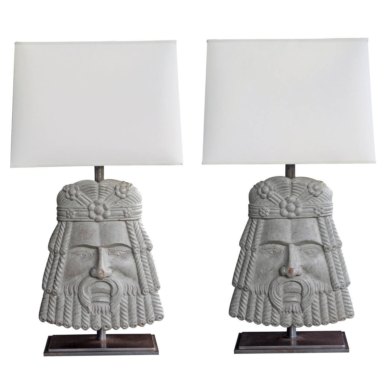 Well-Carved Pair of Italian Romanesque Style Gray Painted Wooden Masks now Lamps