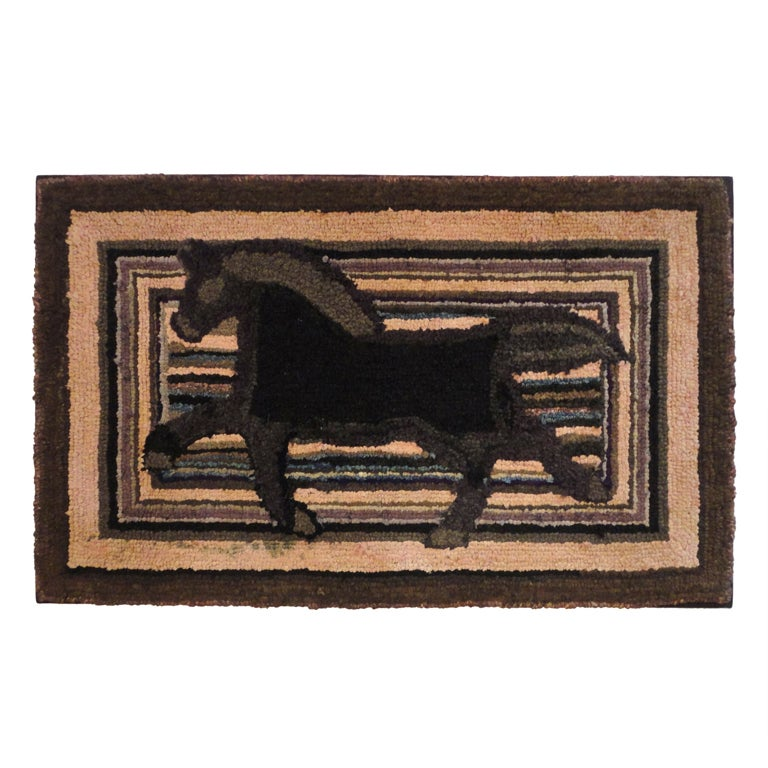 Fantastic and Folky Mounted Hand-Hooked Rug from Pennsylvania