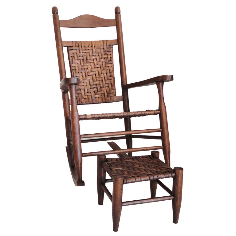 Rustic Hickory Rocking Chair With Matching Foot Stool At