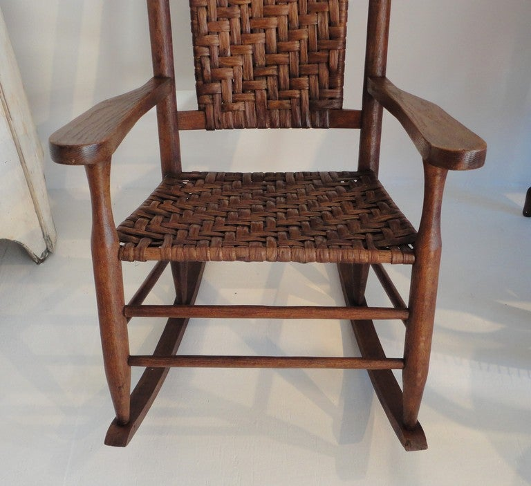 Rustic Hickory Rocking Chair With Matching Foot Stool at 1stdibs