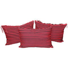 Group of Three Striped Navajo Indian Weaving Bolster Pillows