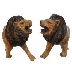 Pair of 19th Century Monumental Hand Carved & Painted Table Top Lions