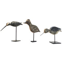 Collection of Three Original Painted 19th Century New England Shore Birds on Iron Stands