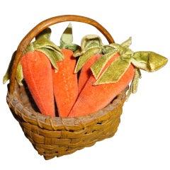 19th Century Original Mustard Painted Tiny Basket with Mini Velvet Carrots