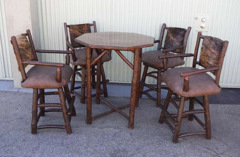 Old Hickory Pub Table With Four Upholstered Swivel Bar