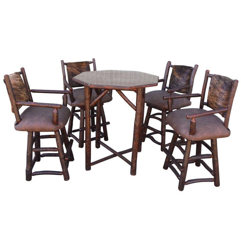 Old hickory pub table with four upholstered swivel bar for Dining room table with swivel chairs