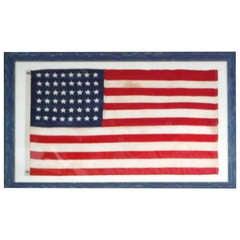 Framed 48 Star Ships Flag Pre-World War II