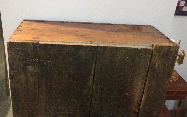 19th Century Wall Cupboard In Original Sage Green Over