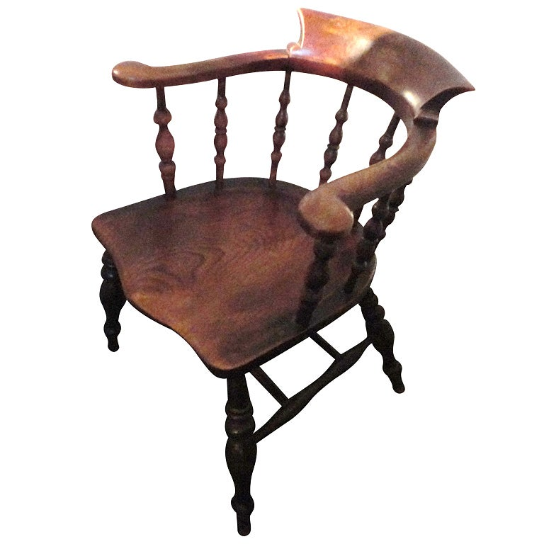 19th Century Original Surface Fireside Windsor Captains Chair From New