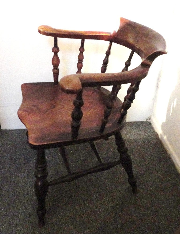 19th Century Original Surface Fireside Windsor Captains Chair From New  England 2 - 19th Century Original Surface Fireside Windsor Captains Chair From