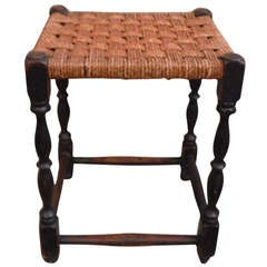19th Century English Handwoven Hemp Seat with Turned Legs Stool
