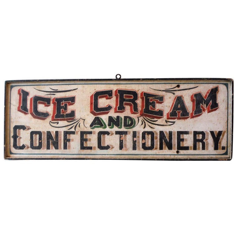 19th Century Original Painted Folky Ice Cream and ...