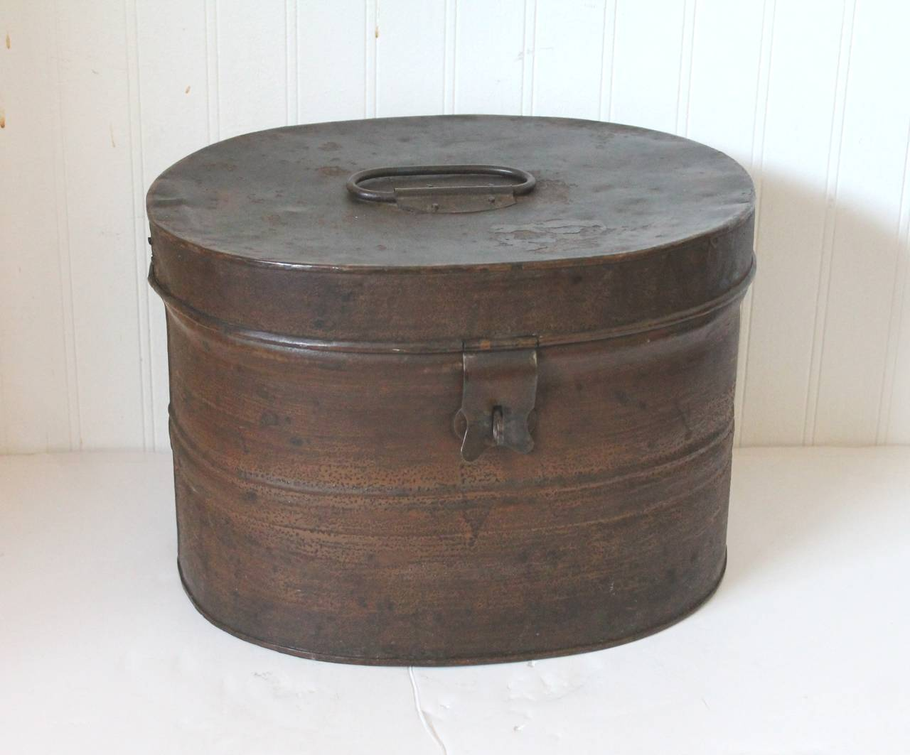 19th century original brown painted and distressed hat box for sale at
