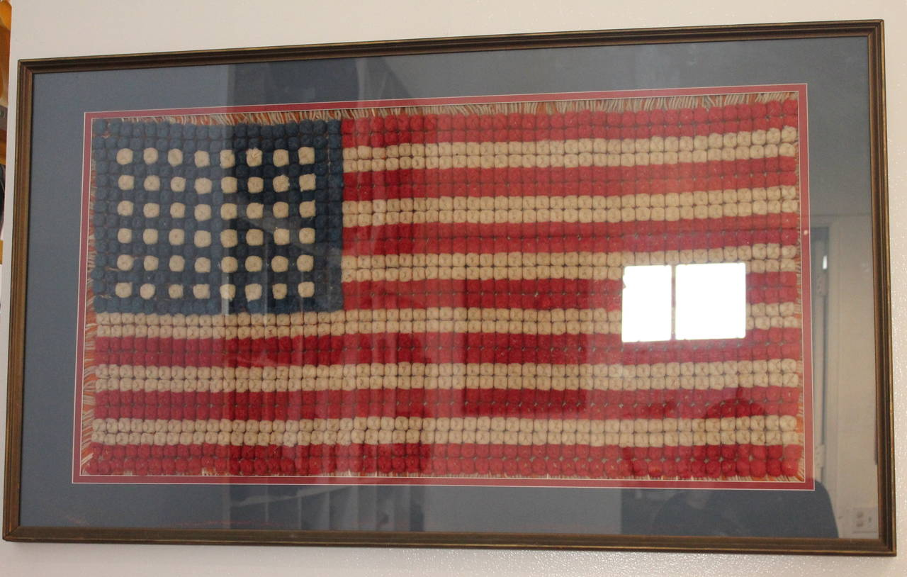Early and Rare Hand Crochet 48 Star Framed Flag For Sale at 1stdibs