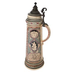 Rare & Early 19thc Monumental German Beer Stein