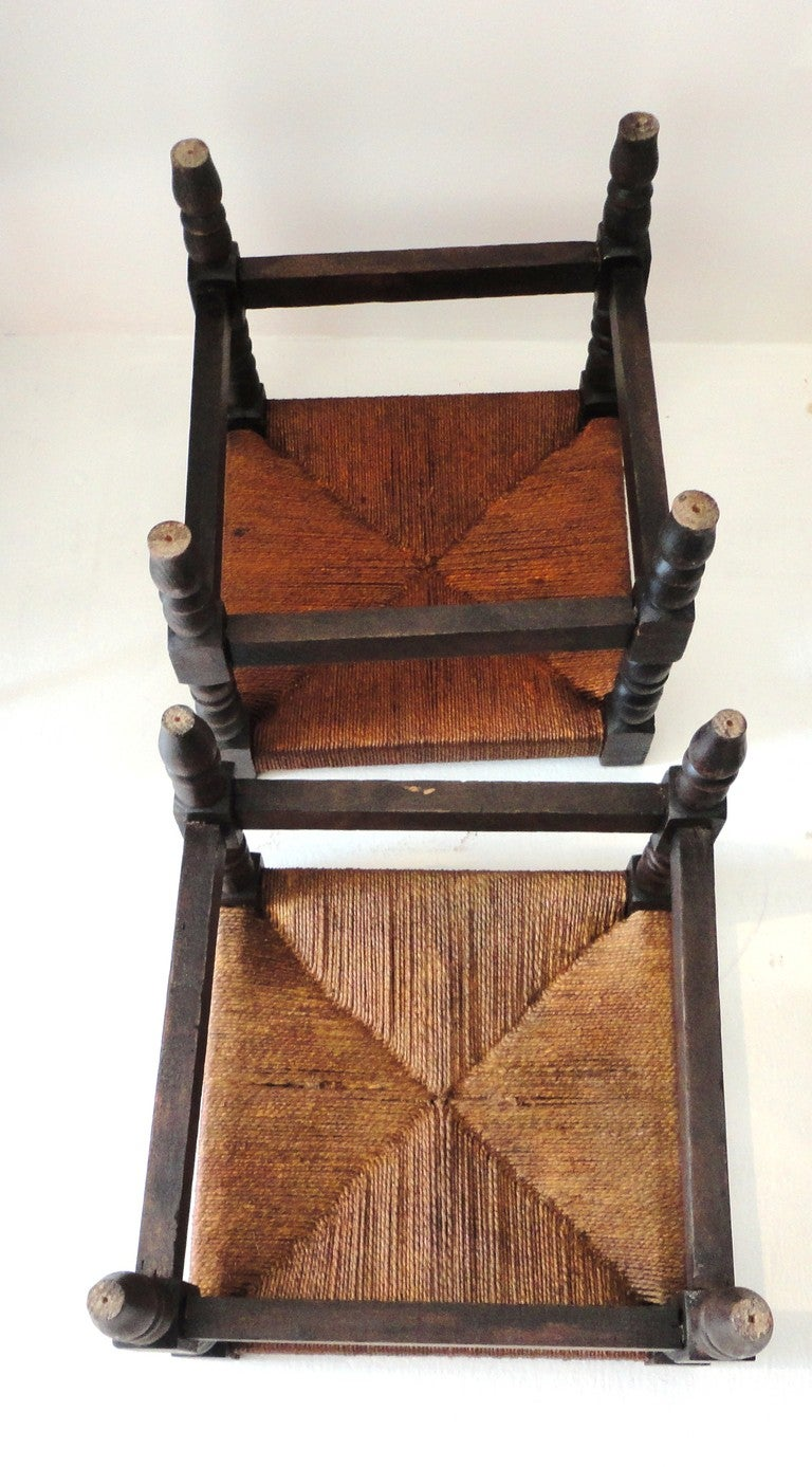 Pair Of 19th Century Stackable Foot Stools With Hemp Seats