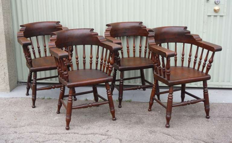 This Wonderful Matching Set Of Four Walnut Captains Chairs Are From The  State Of Maine And